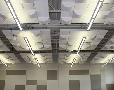 Educational Ceiling Application: Modern accoustical ceiling panels in the cafeteria of a high school
