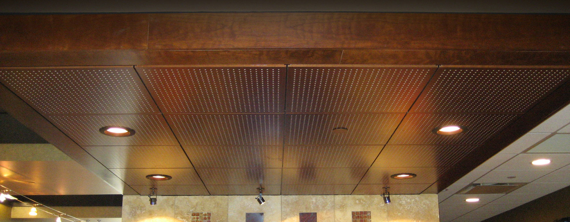 Wood style accoustical ceiling system in a bank